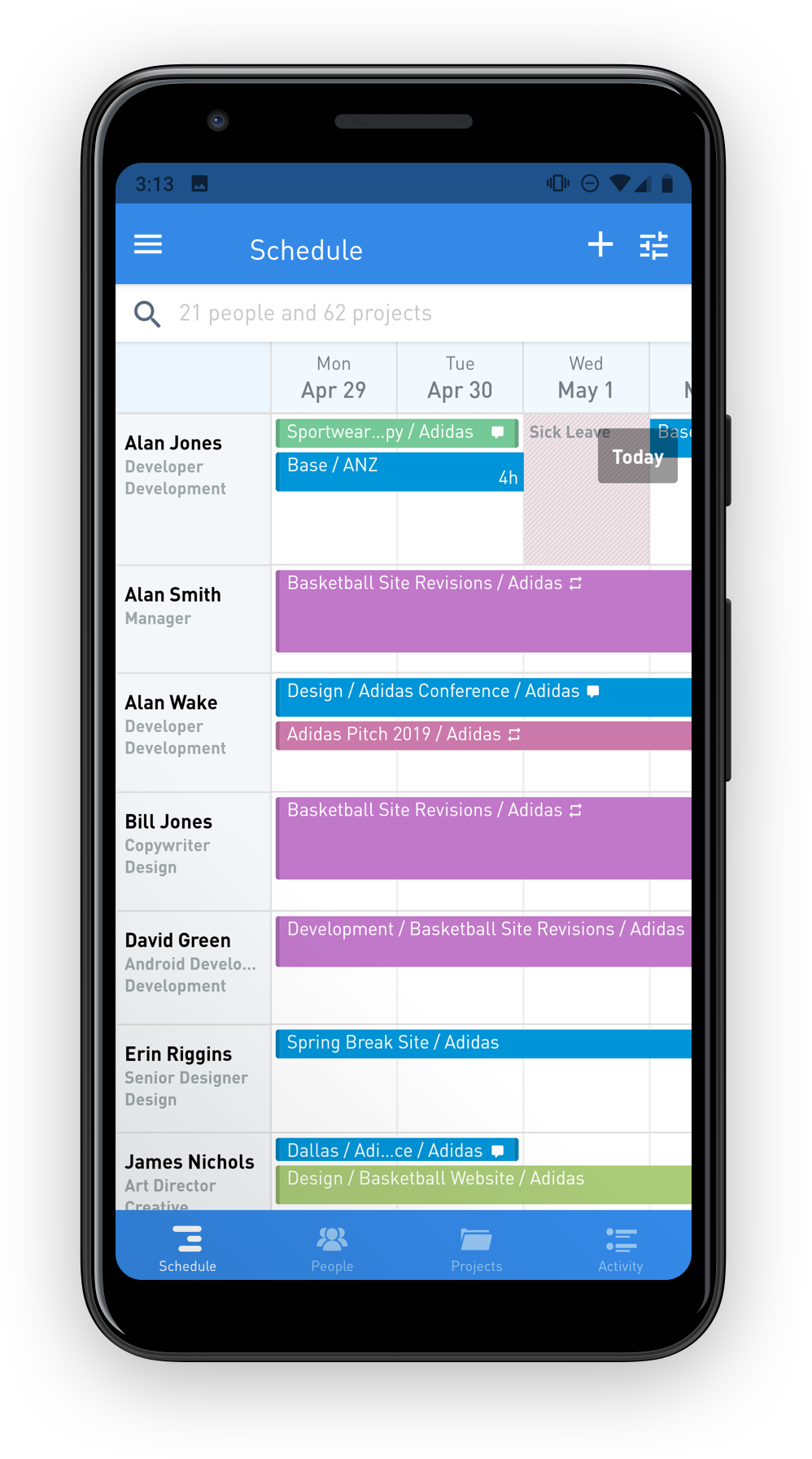 Screenshot of Float schedule on Android app